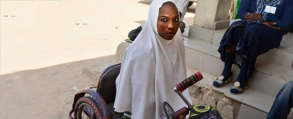 Palmata, a 25-year-old widow living with a disability and relying on a wheelchair to get her around.
