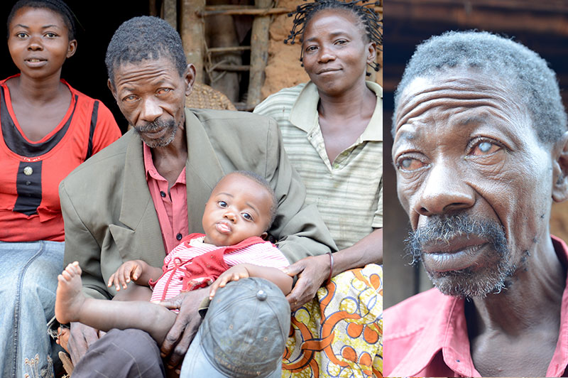 Adolphe blind due to onchocerciasis. Here together with his family