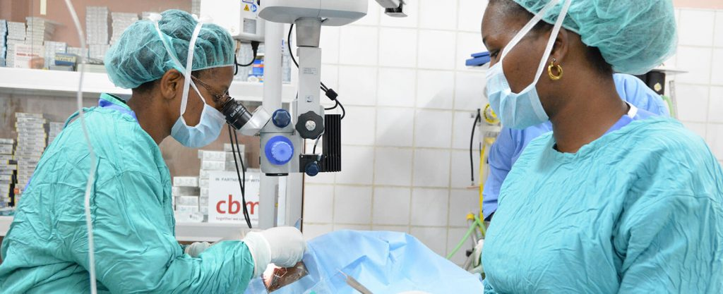 Ophthalmologist Dr Christine Nabatanzi performs cataract surgery